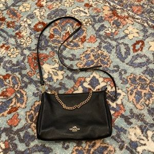 Coach Black Pebble Leather Crossbody with Chain